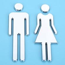 12cm Adhesive Women Men Toilet Sign Toilet Door Sticker 3D Mirror Surface WC Door Sign Sticker For Hotel Bar Restaurant