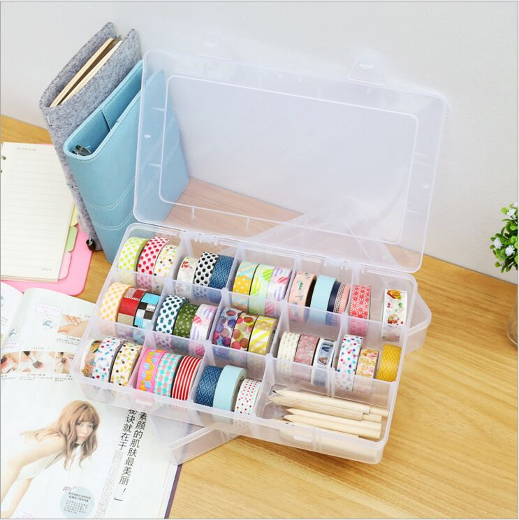 MultiFunction 15 Palace Grid Washi tape storage box simple transparent plastic box accessories box DIY Hand stationery Holder multifunction nail art accessories packaging round box display storage box black transparent