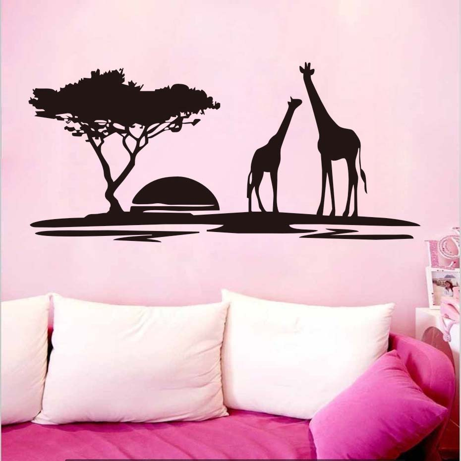 Image 3 - The giraffes in Jungle Sunset Wall Sticker Vinyl Wall Art Large Home Decor Animal Decal for Living Room Bedroom Mural-in Wall Stickers from Home & Garden