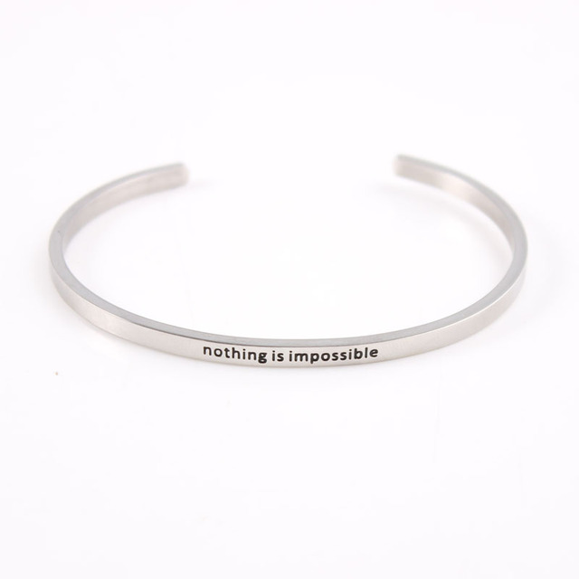 Silver Band Stainless Steel Inspirational Mantra Bracelet Engraved Nothing Is Impossible Quote Bangle Bracelets For Women
