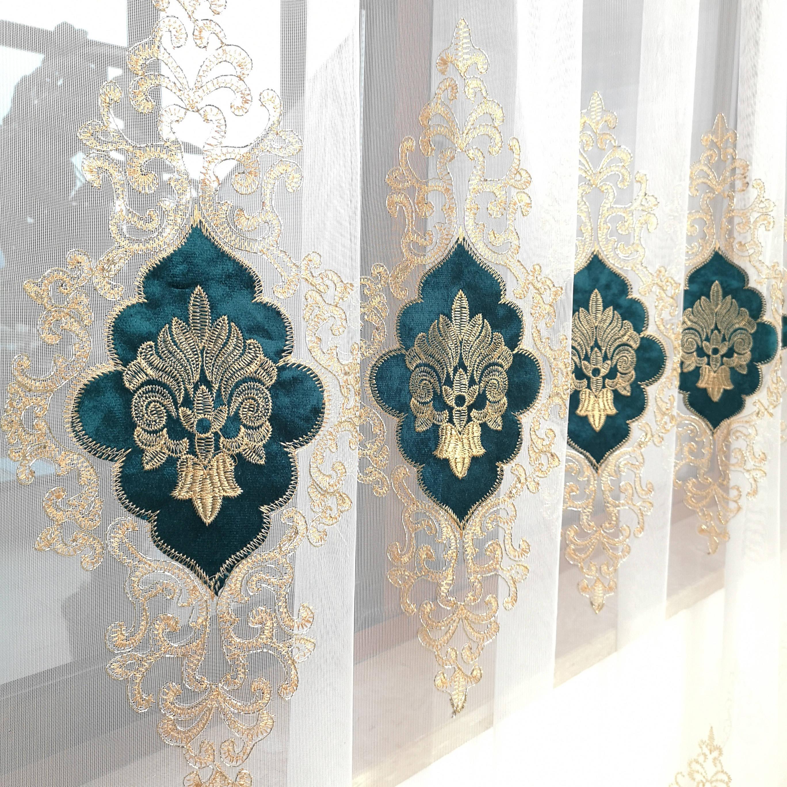 Lento alma ouro verde roxo azul europa bordado tule cortinas para sala de estar cozinha quarto 3d veludo luxo