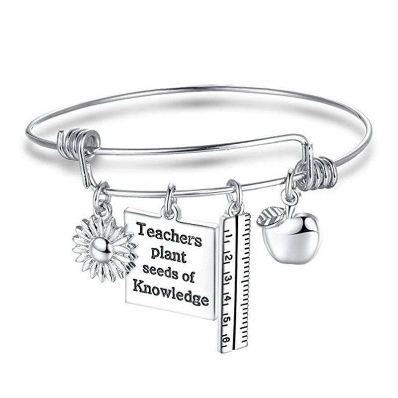Jewelry Teacher Bracelet Apple Ruler Teachers Plants Seeds of Knowledge Adjustable Snap Button Bracelets for Teacher Gifts