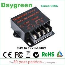 Conversor dc 24vdc para 12vdc 5amp 60w, regulador de fluxo para carro, redutor para luzes led 24v para certificado do ce 12v 10a daygreen