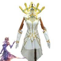 LOL Lux Cosplay Costumes Luxanna Crownguard Luminosity Elementalist LUX Women Girls White Dress Halloween Carnival Uniforms