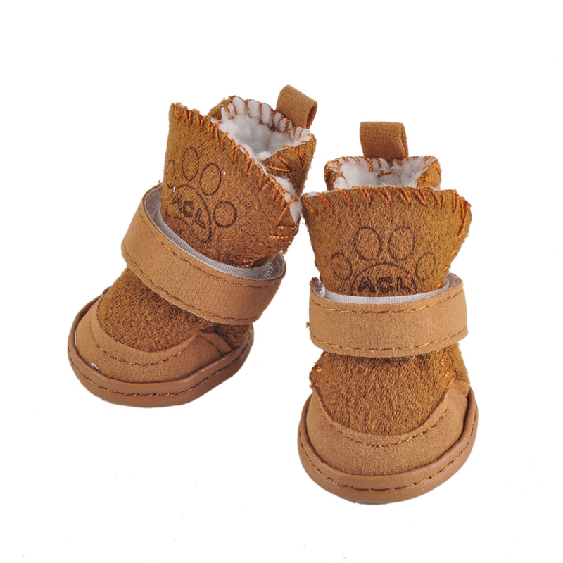 Cute Soft Bottom Comfortable Non-slip Winter Dog <font><b>Shoes</b></font> Waterproof For Small Dogs Pet Warm Brown Pink Snow Boots Pet's Favorite image