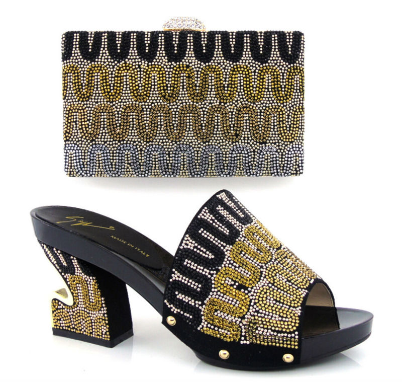 ФОТО Item No.HT16-BLACK Latest arrival best selling African high-heel shoes and bag with high quality