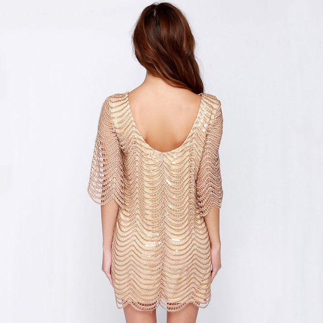 HDY Haoduoyi Golden Wave Sequin Lace Dress Women Backless Bla Sheer Shift Dresses Cut Out Sequin Mesh Straight Dress Vestidos