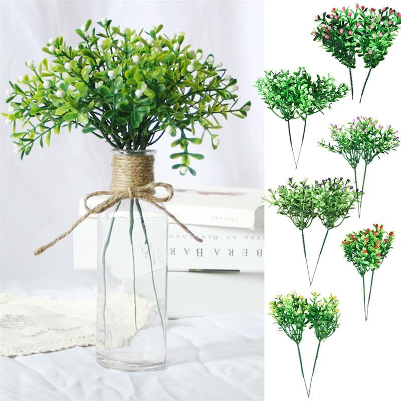 2Pcs Simulation Flower Artificial Milan Grain Plastic Flower Grass Green Plant Grain Wedding Party Garden Home Decoration