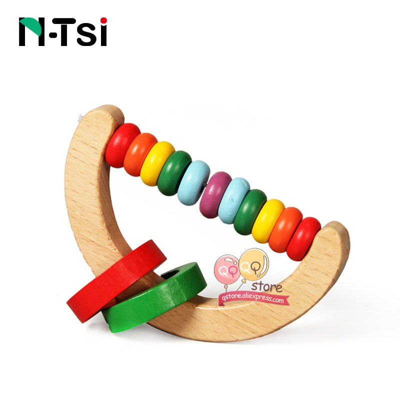 Image 3 - N Tsi Wooden Baby Rattles Grasp Play Game Teething Infant Early Musical Educational Toys for Children Newborn 0 12 months Gift-in Baby Rattles & Mobiles from Toys & Hobbies