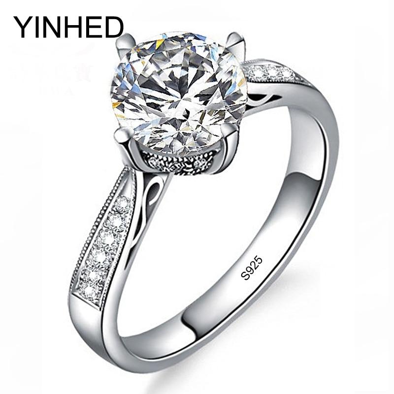 YINHED Elegant Crown Wedding Rings For Women Solid 925