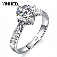 YINHED Elegant Crown Wedding Rings for Women Solid 925 Sterling Silver Ring Jewelry 1 Carat CZ Diamant Engagement Ring ZR375