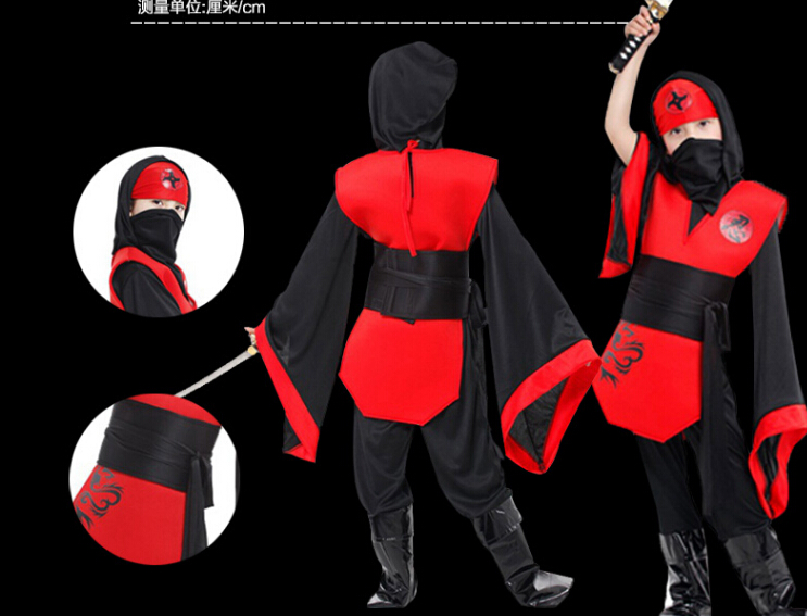 Free shipping Childrens Halloween girl jumpsuit+belt+hat 110-140CMcosplay Costumes party Kids Naruto Ninja set game uniforms