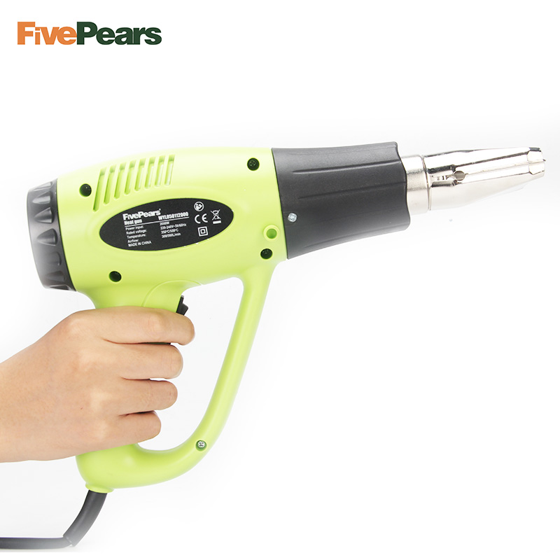 FivePears 2000W EU Plug Industrial Electric Hot Air Gun Temperature Adjustable Heat Gun Shrink Wrapping Thermal Heater 4Nozzle in Heat Guns from Tools