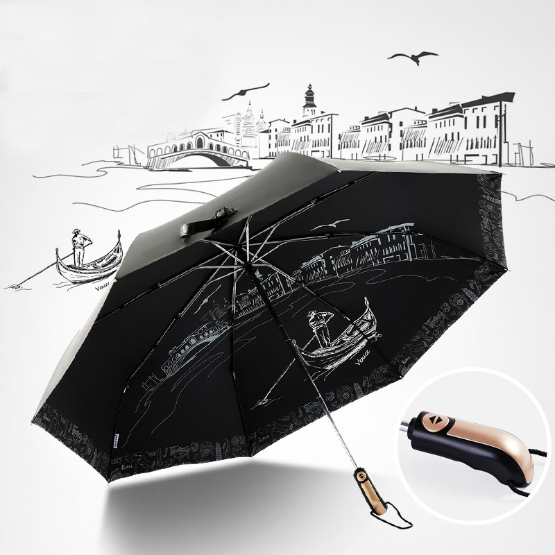 Emoji Poop Face Automatic Tri-Fold Umbrella Parasol Sun Umbrella Sunshade