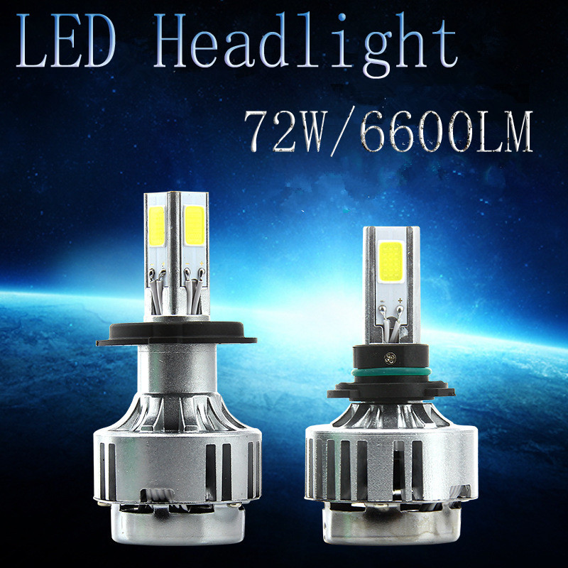 ФОТО New Brights LED Headlight Bulb H4 - 72W 6600LM COB LED Lamp Replaces Halogen HID Hi Lo Dual-beam H4 LED Car Motorbike Headlight