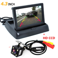 Foldable 4.3 Inch TFT LCD Mini Car Rearview Monitor Vehicle Reversing Parking System + Auto Night Vision Rear View Backup Camera