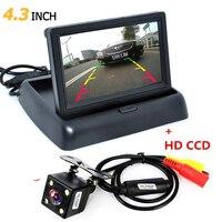 Opvouwbare 4.3 Inch TFT LCD Mini Car Achteruitkijkspiegel Monitor Voertuig omkeren Parking System + Auto Nachtzicht Achteruitrijcamera Backup Camera