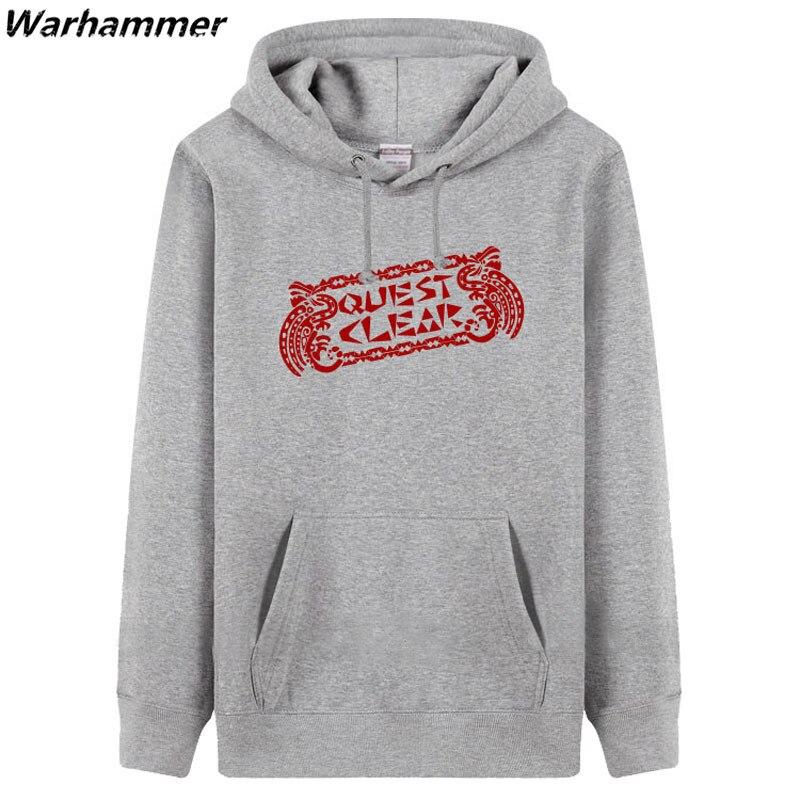Man womens hoodies&sweatershirt Quest Clear thick fleece hoody game player fashion jacket black red XXXL boys Winter sweatshirts