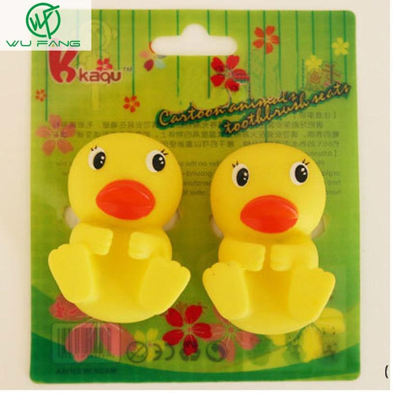 Environmental Plastic Cute Yellow Duck Cartoon Animal Toothbrush Holder  Sucker Stand Suction Cup Bathroom Sets(