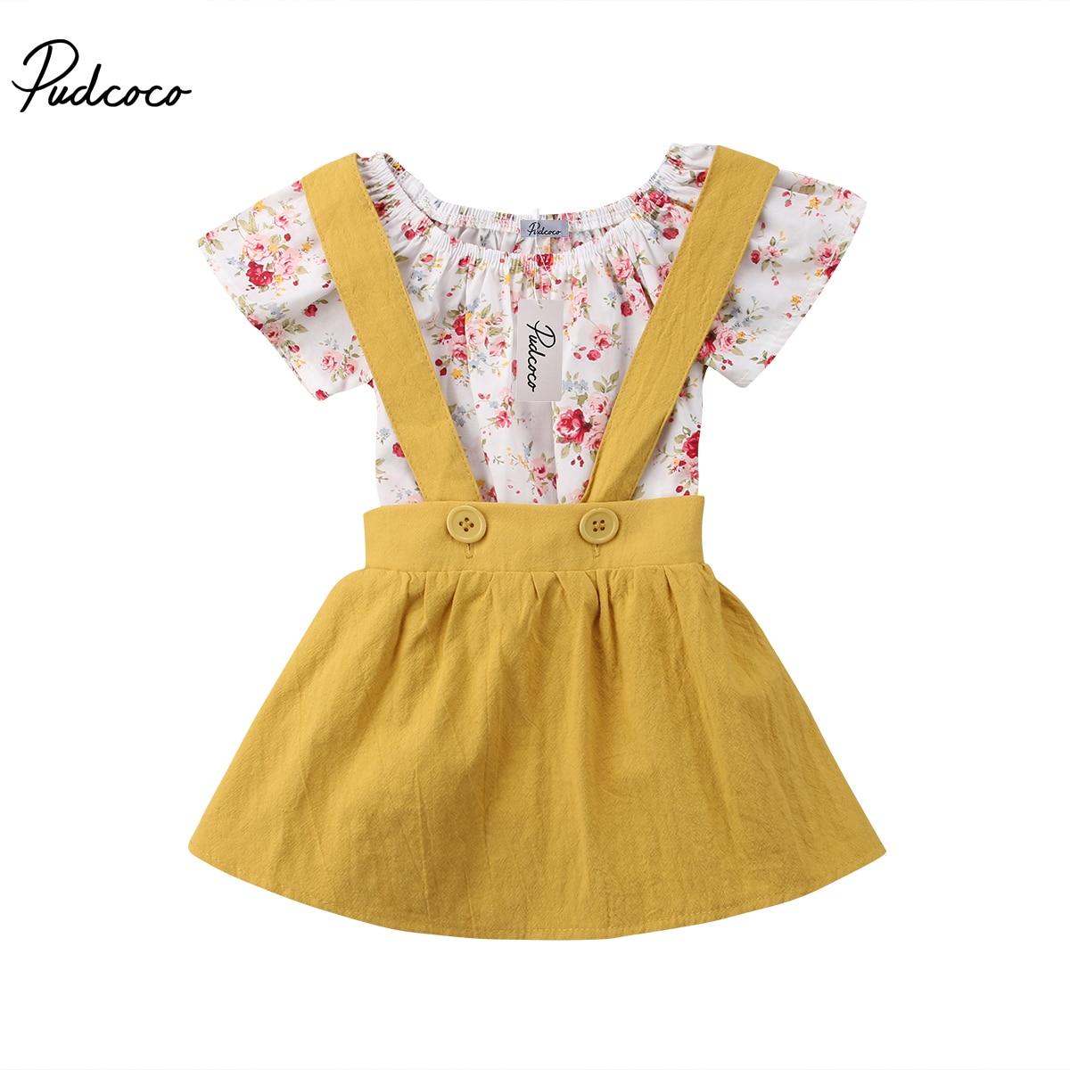 2PCS Baby Clothes Newborn Floral Rompers Kids Baby Girls Short Sleeve Tops Toddler Suspender Skirt Sundress 0-18M
