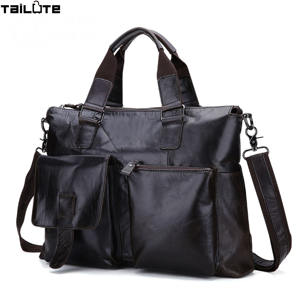 TAILUTE Genuine Leather Men Bag Men Messenger Shoulder Bags Men's Crossbody Bag Men's Briefcase Leather Laptop Bags 14'' Handbag bvp free shipping new men genuine leather men bag briefcase handbag men shoulder bag 14 laptop messenger bag j5