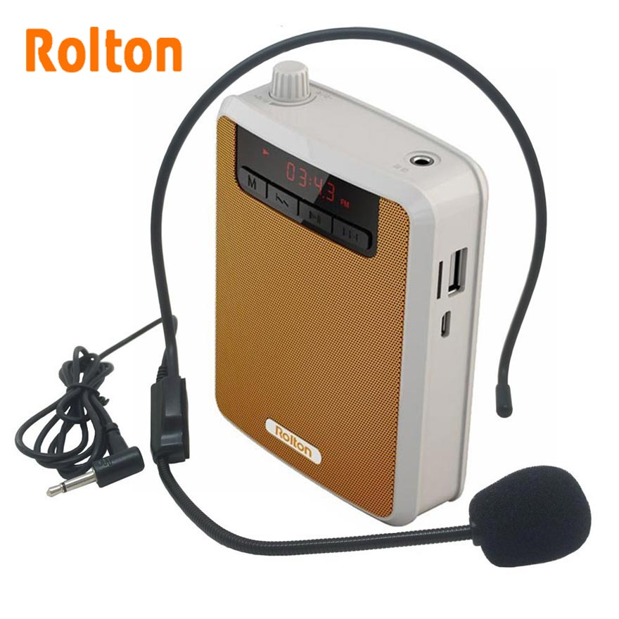 Rolton K-300 Loudspeaker Microphone Voice Amplifier Booster Megaphone Speaker For Teaching Tour Guide Sales Promotion Column
