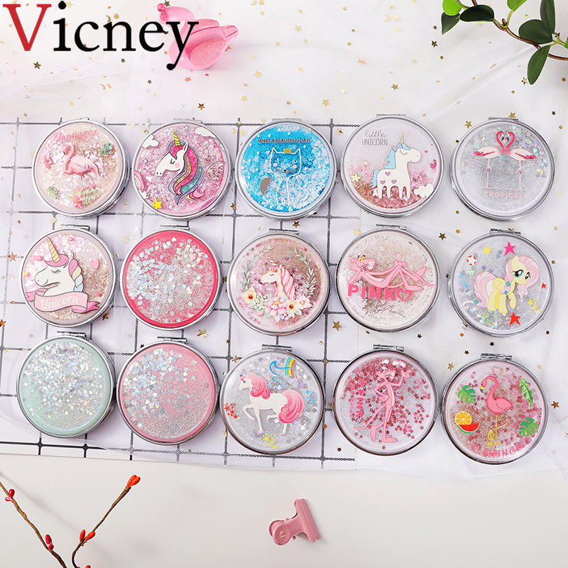 Mini Makeup Mirror Compact Pocket Mirror Portable Double-Sided Folding Cosmetic Mirror Female Gifts With flowing sparkling sand