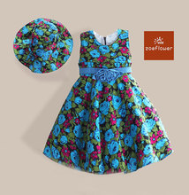 Top Quality Girls Flower Dress With Sunhat Blue Floral Print Summer Kids Dresses Casual For Party robe reine des neiges