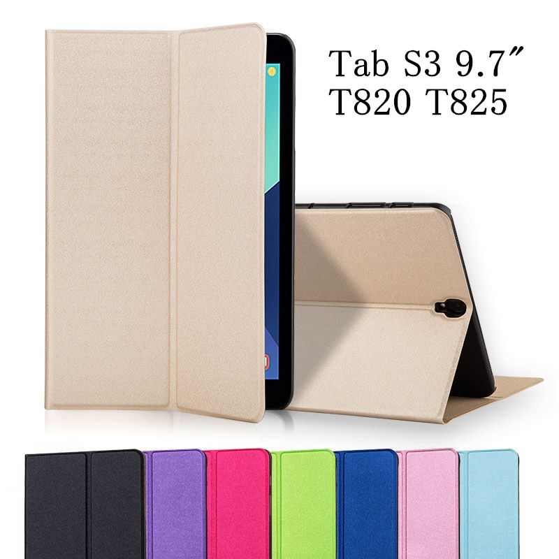 For Samsung Galaxy Tab S3 T820 T825 Flip Case Ultra Thin Slim PU Leather Stand Smart Cover Case for Samsung Galaxy Tab S3 9.7 new fashion tab s3 9 7 tablet case pu leather flip cover for samsung galaxy tab s3 9 7 inch t820 t825 cute stand cover 6 colors