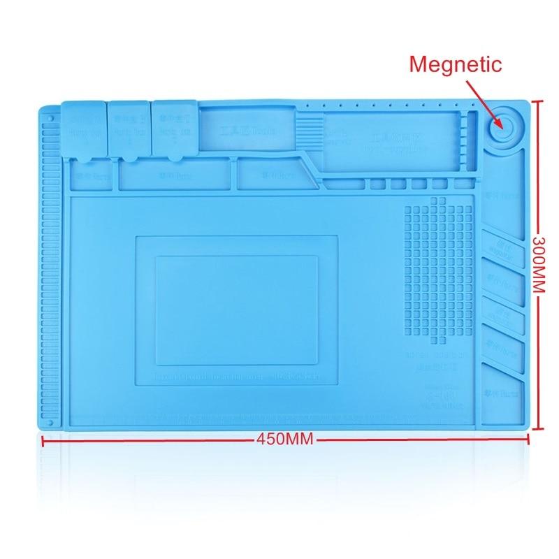 S-160 de plate-forme d'entretien de tapis de bureau de coussin de silicium d'isolation thermique de 45x30 cm S160 pour la Station de réparation de soudure de BGA avec magnétique
