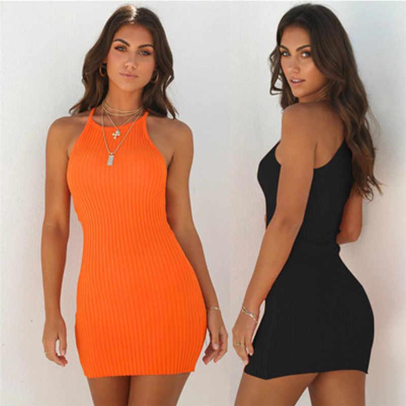 אופנה 2019 נשים סקסיות ללא משענת בסיסי שמלות Bodycon שמלת רצועת מוצק שמלת קלע שרוולים חג המפלגה מיני שמלה