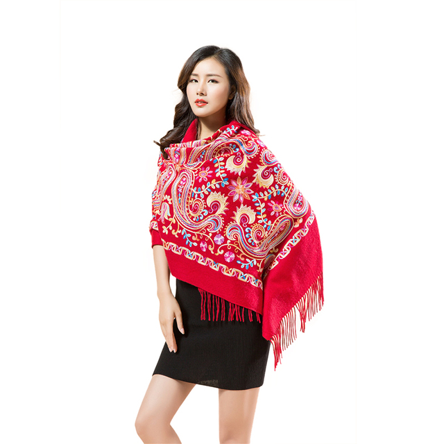 IANLAN Fashion Women Genuine Wool Shawl Wrap Nepalese Embroidery with Tassels Dual Use Long Stole Ladies Scarves Shawls IL00053