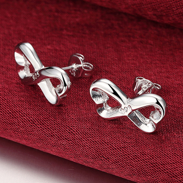 Silver 925 Jewelry Set 8 Word Bride Necklace Ring Earring For Women Wedding Jewelry Set Gifts