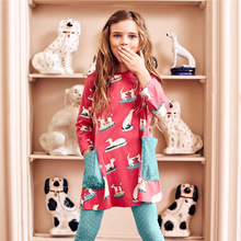 long sleeve children dress cotton kids dresses european design Baby Girl dog Printing Party Dress cute Outfits Clothes 2-7T