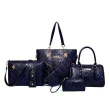 Marke Neue 2016 Frauen Tasche Mit Mode Verbund Tasche Für Weibliche Qualität Leder Krokoprint Drop Verschiffen 6 Sätze