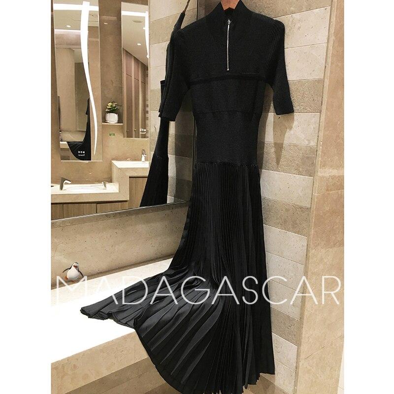 Для женщин элегантный слово шерсть плиссированное платье 2018 коммутируют тонкий Пятиточечные рукавом Для женщин зимняя одежда