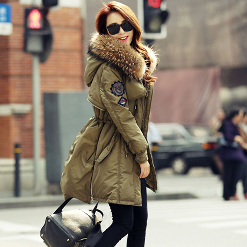 2019 Luxury Real Raccoon Fur Collar Hooded Down Coat Parka 90 Down Parkas Warm Thick Womens