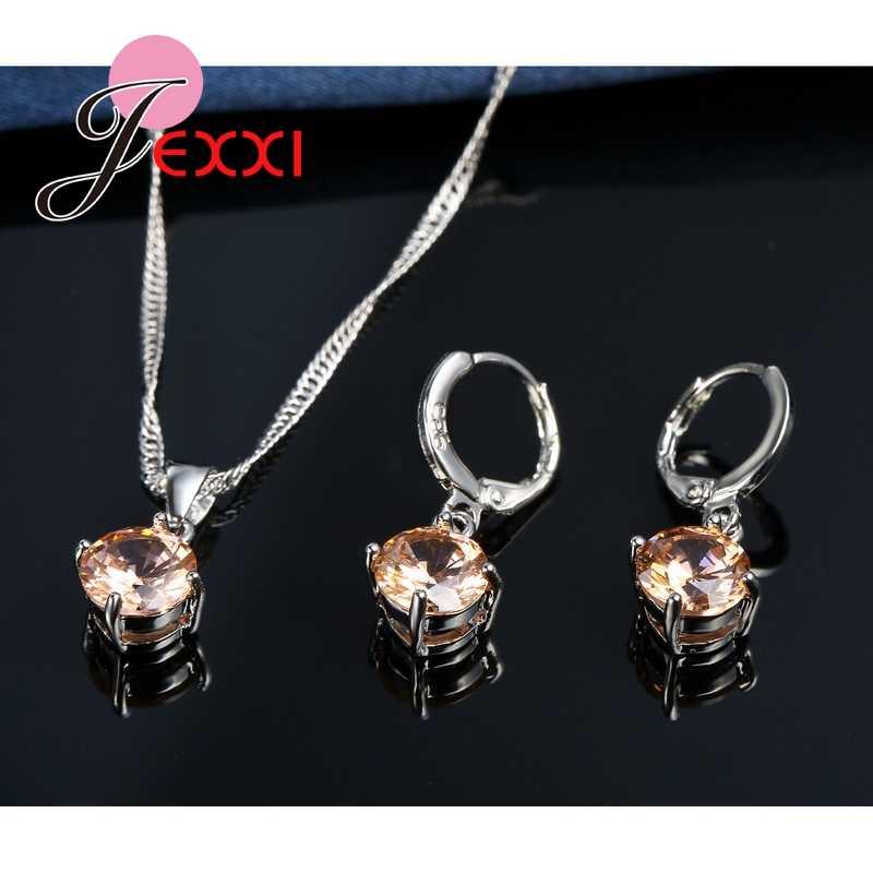 8 farben Top Qualität 925 Sterling Silber Hochzeit Schmuck-Sets Für Braut CZ Kristall Charme Anhänger Halskette Hoop Ohrringe