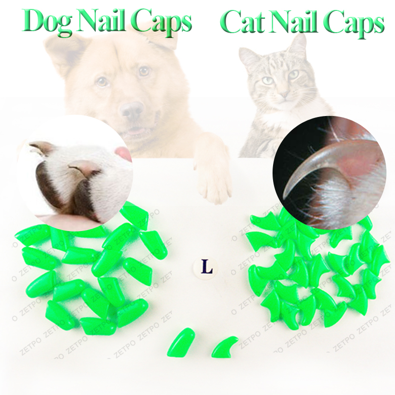 100pcs / lot Cat Nail CapsSoft Nail Protector soft cat pawControl ...