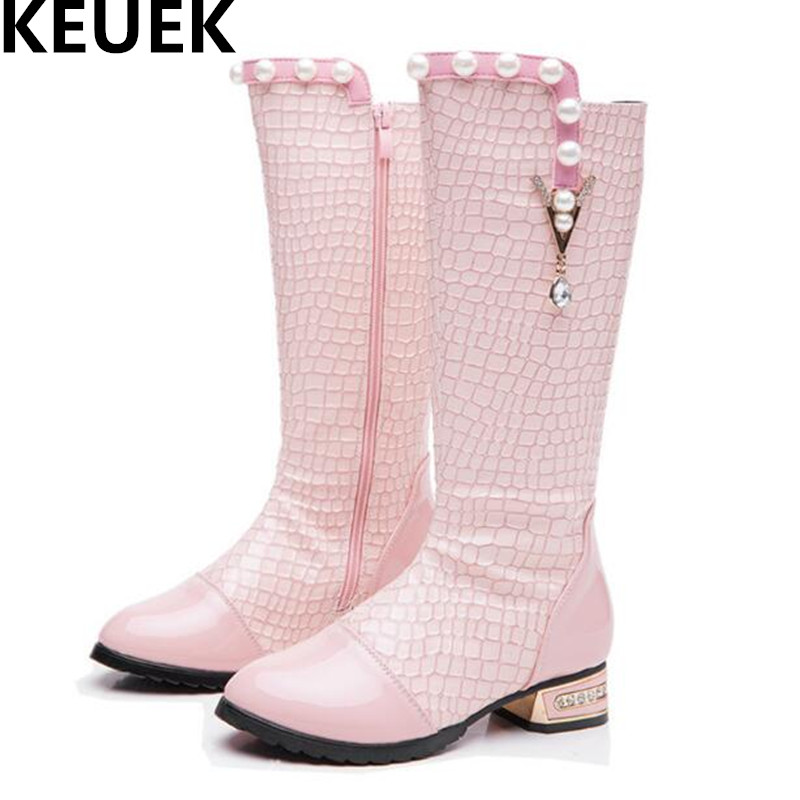 NEW Spring/Autumn Knee-High Boots Girls Dance Leather Boots Princess Crystal Fashion Boots Children Low-heeled Shoes Kids 044  wendywu spring autumn children fashion pu leather heeled shoe for baby girsl rhinestone princess dance shoes gold toddler