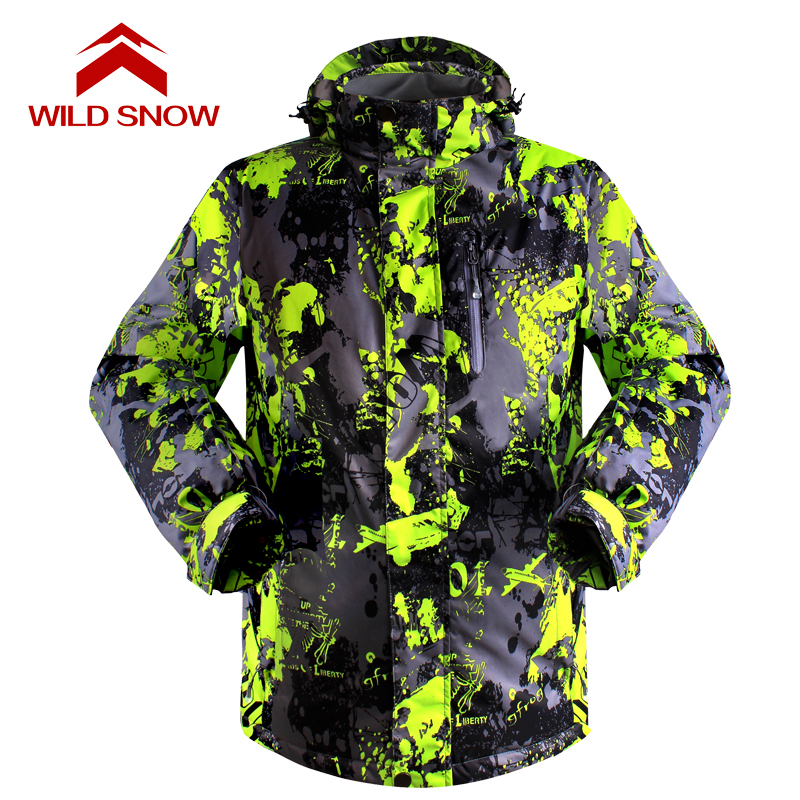 Wild Snow Brand 2017 Men Ski Jackets Snowboard male Winter Mountain Skiing Clothes Winter Coat Snow Waterproof Camping Outdoor 2017 hot sale gsou snow high quality womens skiing coats 10k waterproof snowboard clothes winter snow jackets outdoor costume