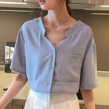 все цены на Korean Solid Women Blouses and Tops Summer Short Sleeve V Neck Blouse Casual Chiffon Shirts Female Pocket Loose Blouses Tops онлайн