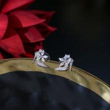 Nueva marca de moda de plata circon joyeria forma zapato damas perforados pendientes