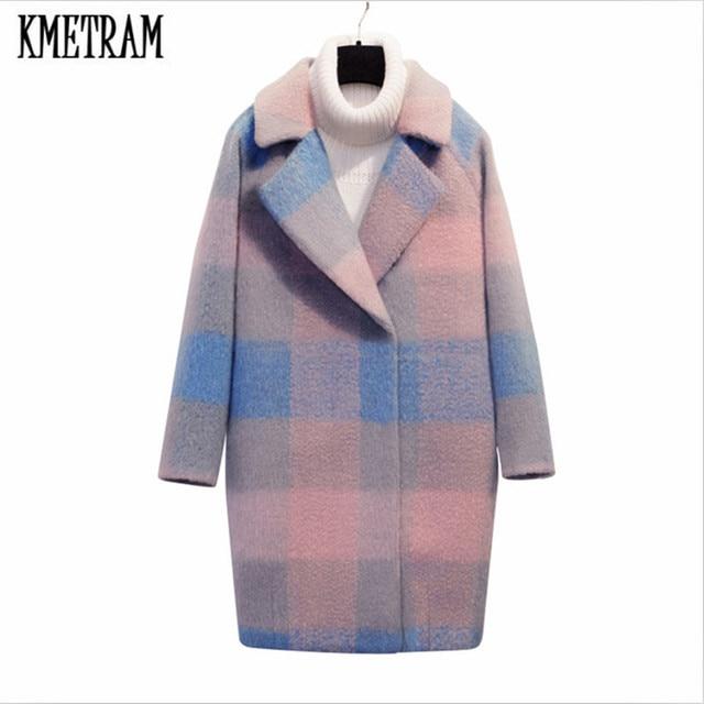 kmetram nouveau long hiver manteau femmes laine manteau manteau