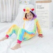 Купить с кэшбэком Unicorn Pajamas for Girls Combinaison Pyjama Licorne Cartoon Children Sleepwear Coral Fleece Boys Pijama De Unicornio Inverno