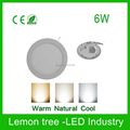 6W LED Round Bright LED Recessed Ceiling Panel Down Light Lamp warm white / cool white / natural white AC85-265V Free Shipping