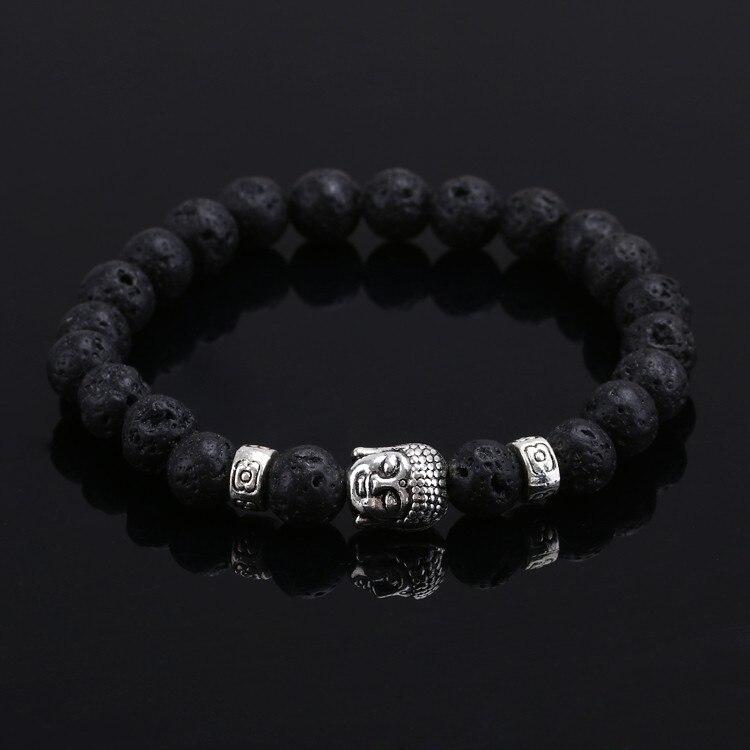 2016 Pedra Natural bead Buda Pulseiras Para As Mulheres e Homens, Prata Buddha, turquesa, preto lava bracelete, pulseira pulseras mujer