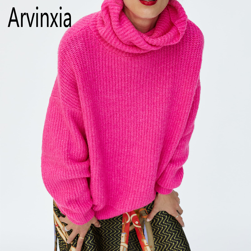 Arvinxia ZA Fashion Solid Turtleneck Knitted Woman Sweaters New Arrivals Loose Long Sleeves Pullovers Casual Thick Ladies Shirts