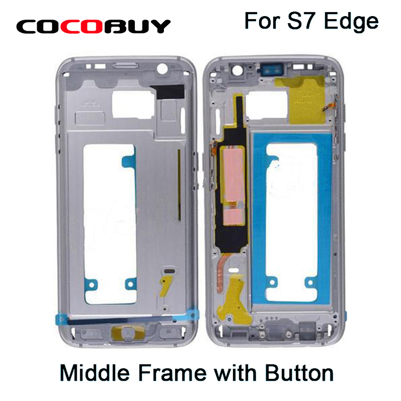 Free Shipping Metal Front Housing Bezel Middle Frame Power Volume Buttons For S7Edge G935 ia73 original chassis middle housing frame for iphone 4 silver