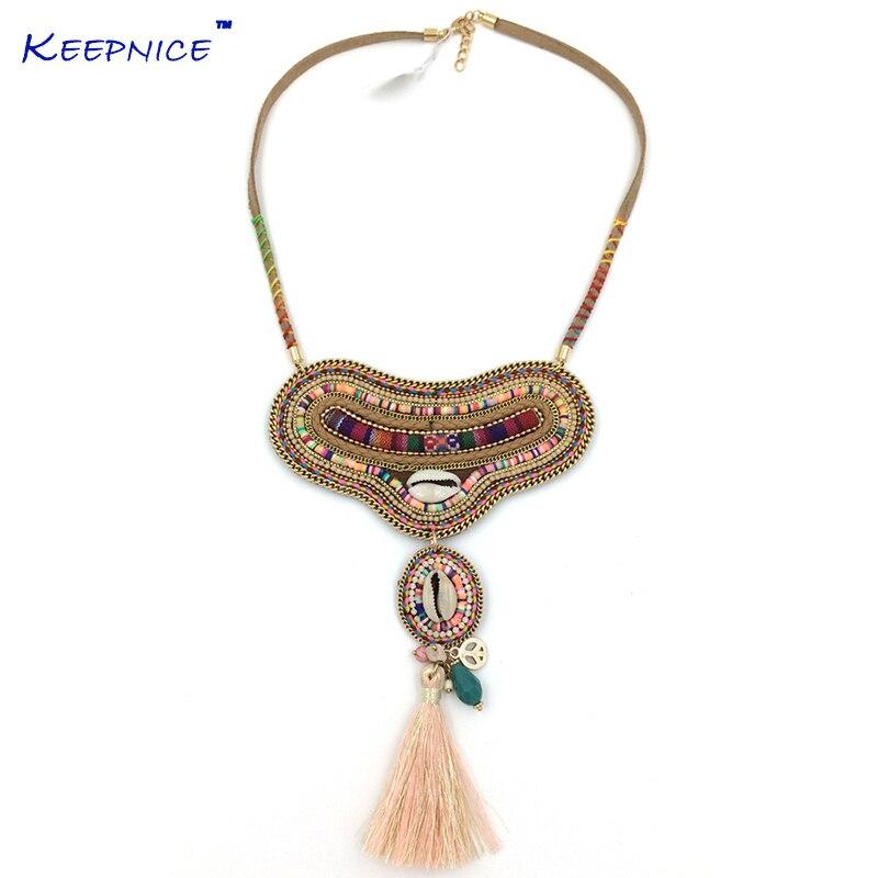 Nouveau BohoTassel bohême pendentif Collier Unique Boho Chic Collier ras du cou colliers ethnique rose ras du cou Collier pour femmes